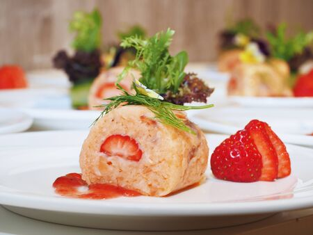 Salmon roll with strawberry, Concept healthy eating.