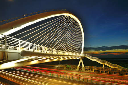 The harp bridge at night in Hsiang-Shan, Hsin-Chu City, Taiwan