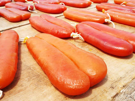 Mullet roe drying at outdoor in Taiwan