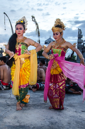 Traditional Balinese Kecak Dance at Uluwatu Temple on Mar 15, 2015, Bali, Indonesia. Kecak (also known as Ramayana Monkey Chant) is very popular cultural show on Bali, Indonesia