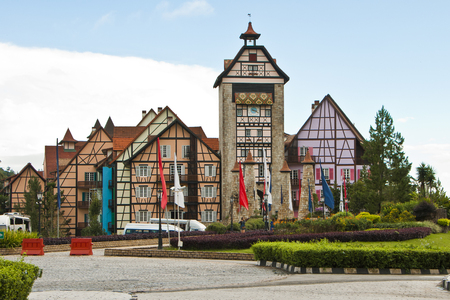 Entrance of Colmar Tropicale, Malaysia - A french themed resort, which is a replica of a 16th Century French Village. Stock Photo - 72719039