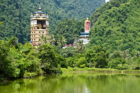 Tambun Tibetian Buddhist Temple, Perak, Malaysia - Tambun Tibetian Temple, also known as Jingang Jing She by the locals, is surrounded by magnificent perimeters of luscious valleys, orchards and limestone hills. Stock Photo