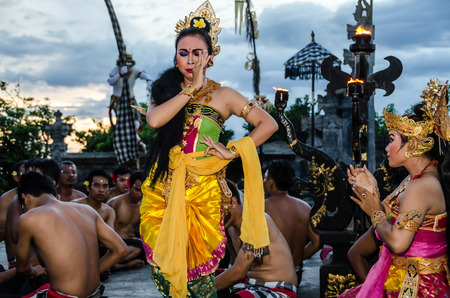 Traditional Balinese Kecak Dance at Uluwatu Temple, Bali, Indonesia. Editorial