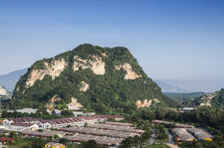 Luchtfoto van landelijk Ipoh stadsschip, Ipoh, Maleisië Stockfoto