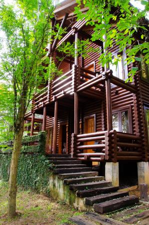 dwelling: Log house - Cozy log house amongst green environment.