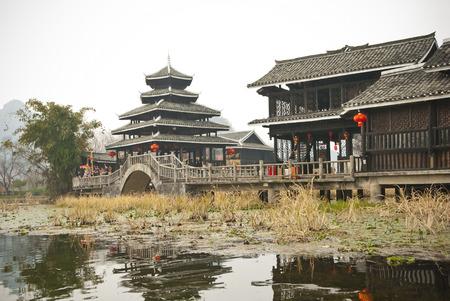 Minority style buildings, Yangshuo Shangri-la Theme Park, Baishai, Guilin, China -  The minority cultures style buildings of Miao, Dong, Zhang and Yao