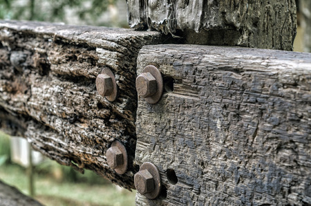 Closeup of decayed worn wooden fence - decaying wooden texture with shollow DOF