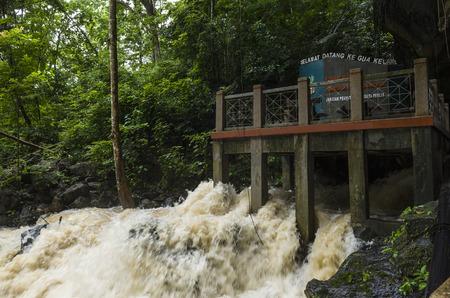 Gua Kelam cave flooded with heavy flows during monsoon rain season, Perlis, Malaysia