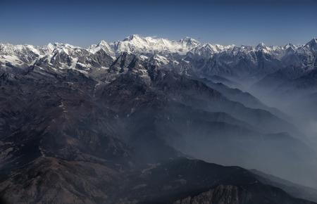 Everest Peak and Himalaya Everest mountain range panorama