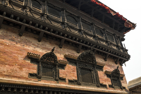 Nepalese craft and architecture of building in Kathmandu Durbar Square, Nepal