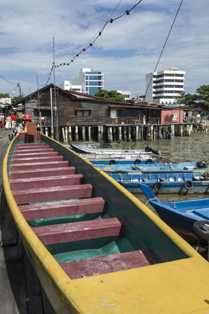 Penang, Malaysia - Dec 14,2015 : Famous dragon boat which residents of Chew Jetty had once used to win a dragon boat race in Penang.
