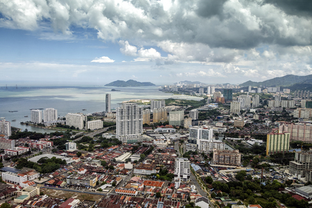 Aerial view of George Town from The Top Komtar in Penang, Malaysia. Stock Photo