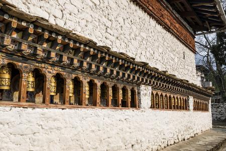 Bhutanese buddism praying wheels at Kyichu Lhakhang Temple, Paro, Bhutan