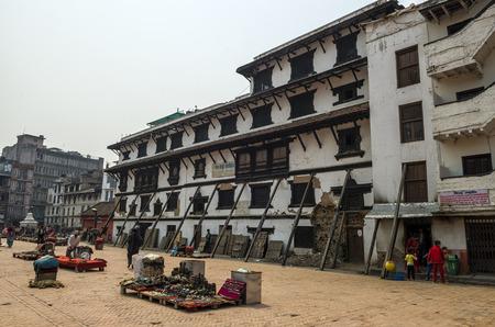 Market place at street around Basantapur Durbar Square after major earthquake at 2015, Kathmandu, Nepal.