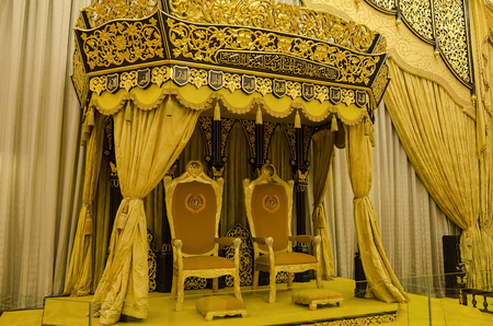Balai Rong Seri of Istana Negara, Royal Museum, Malaysia. The hall was used for official and customary functions include ceremonial occasions of taking the royal plead, the installation rite, and the appointment of a new prime minister.