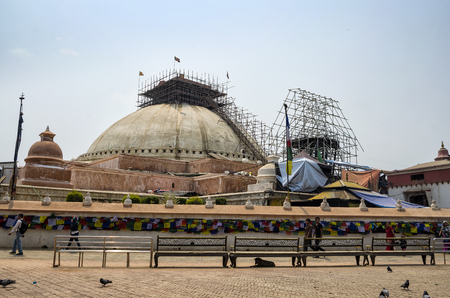 The Great Boudha Stupa under repair and renovation after major earthquake in 2015, Kathmandu, Nepal.
