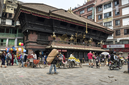 Busy Asan Tole Market with workers, local and tourists, Indra Chowk, Kathmandu Nepal.