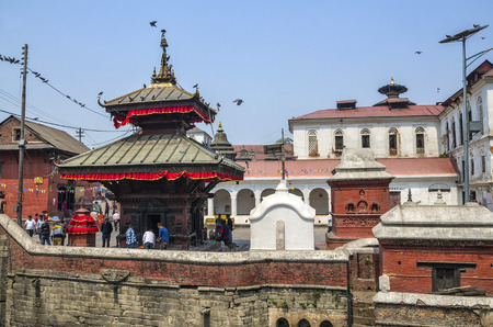 Pashupatinath serves as the seat of the national deity, Lord Pashupatinath. It is also the place of cremation ceremony along the holy Bagmati River in Bhasmeshvar Ghat, Kathmandu, Nepal 에디토리얼