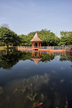 Water reflections at Taman Tasik, in Taiping, Perak, Malaysia