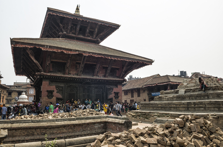Kathmandu, Nepal - 13 April, 2016: Damages of street and building in Bhaktapur after major earthquake in 2015 and reconstruction in on going.