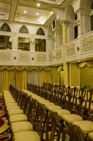 Balai Rong Seri of Istana Negara, Royal Museum, Malaysia. The hall was used for official and customary functions include ceremonial occasions of taking the royal plead, the installation rite, and the