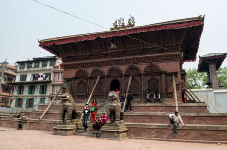 Damages of street and building in Bhaktapur after major earthquake in 2015 and reconstruction is on going, Kathmandu, Nepal Editorial