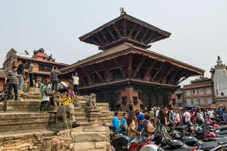 Crowded of public gather at Kathmandu Durbar Square in Kathmandu during the the Nepalese New Year 2073 Festival. Editorial