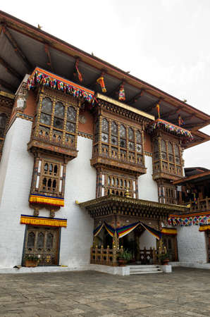 Traditional architecture at Punakha Dzong or Pungthang Dewachen Phodrang (Palace of Great Happiness) in Punakha, the old capital of Bhutan. Punakha Dzong or Pungthang Dewachen Phodrang (Palace of Great Happiness) in Punakha, the old capital of Bhutan.