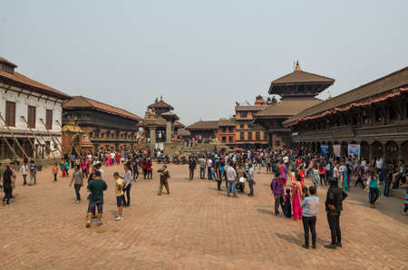 Damages of street and building in Bhaktapur after major earthquake in 2015 and reconstruction on going, Kathmandu, Nepal. Editorial