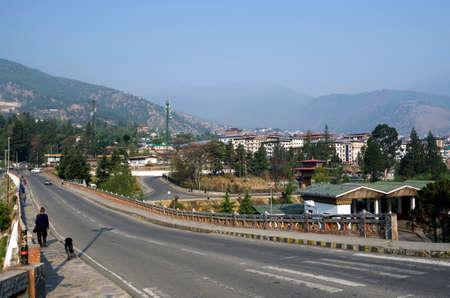 View of Thimphu city in Bhutan during spring season, Thimphu, Bhutan.