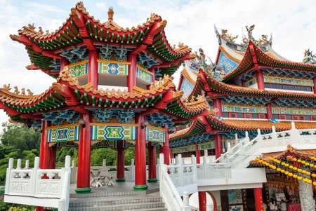 The archictecture of Thean Hou Temple, Kuala Lumpur, Malaysia. The Thean Hou Temple is a landmark six-tiered Chinese temple in Kuala Lumpur.