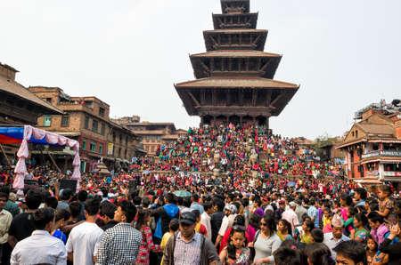 Huge number of public gather at Kathmandu Durbar Square in Kathmandu during the the Nepalese New Year 2073 Festival, Kathmandu, Nepal