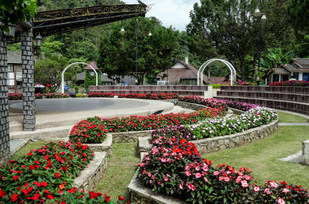 Famous flower garden landmark of Fraser Hill, Malaysia. Fraser Hill is a colonial era hill station founded by Scotsman Louis James Fraser in the 1890s.