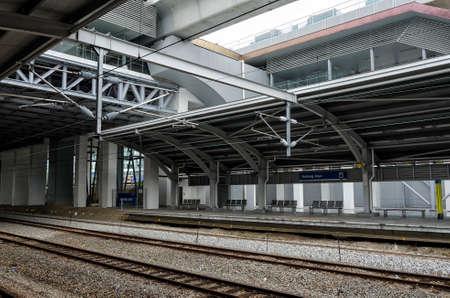 KTM electric commuter train station at Subang Jaya, Kuala Lumpur, Malaysia - KTM Komuter system provide local rail services in Kuala Lumpur and the surrounding Klang Valley suburban areas. Editorial