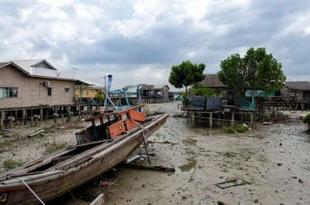 An authentic Chinese fishing village at Kampung Bagan Sungai Lima, Malaysia. Kampung Bagan Sungai Lima is located on the fifth river from the main village of Pulau Ketam
