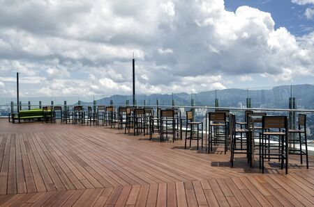 Table over looking Georgetown city from the 66th Floor of the Komtar tower, Penang, Malaysia