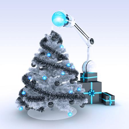 robot and Christmas tree photo
