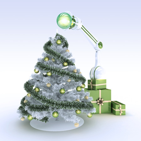 robot and Christmas tree photo