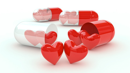 Pill filled with hearts photo