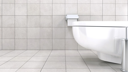 floor tiles: White toilet bowl in a modern bathroom