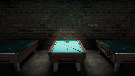 pool rooms: pool table with brick wall