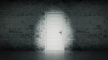 3d open door in a white vintage brick wall photo