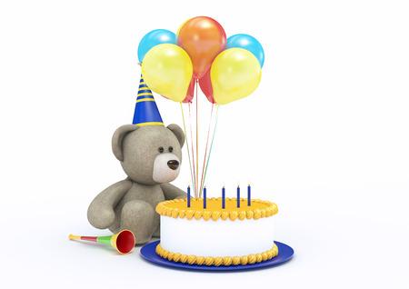 teddy wreath: Toy Bear Celebrating its Birthday
