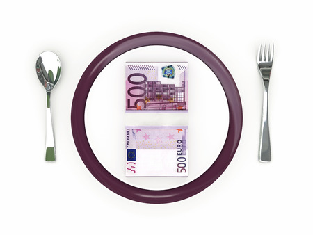 Business concept - Plate, cutlery and euro banknotes 版權商用圖片