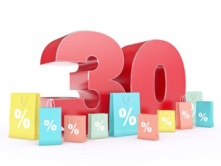 3D rendering of a 30 percent discount Stock Photo