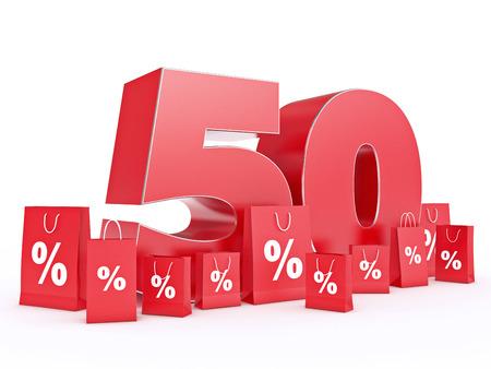 shoppingbag: 3D rendering of a 50 percent discount