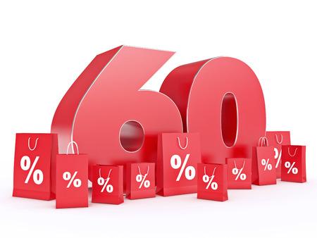 shoppingbag: 3D rendering of a 60 percent discount