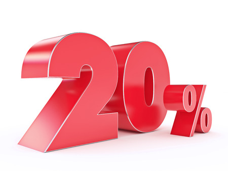 shoppingbag: 3D rendering of a 20 percent discount Stock Photo