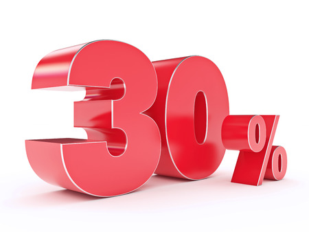 shoppingbag: 3D rendering of a 30 percent discount Stock Photo