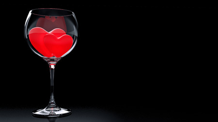 s day: Wine Glass with Red Hearts on Valentine\\\\